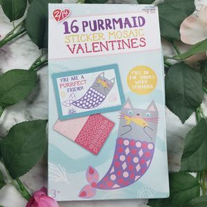 Purrmaid 16ct Sticker Valentines Card 8 boxes
